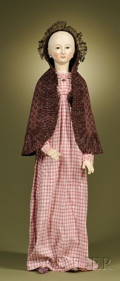 Bavarian wood jointed doll, c 1700s   32""