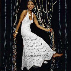 Crochet DRESS Pattern Vintage 70s Crochet Wedding Dress Pattern MAXI Chevron Pattern Crochet Wedding Gown Evening Dress Pattern