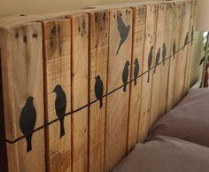 DIY Headboard Ideas   Pallet Headboard with Blackbirds  DIY Bedroom Decorating Ideas