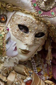 Ivory, pearl, mauve gold Mardi Gras mask -  Carnival