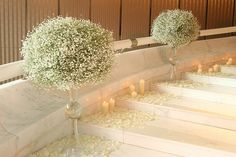 White Marble Staircase Decoration | Flickr - Photo Sharing! #wedding #flowers  No fire with a flowing gown