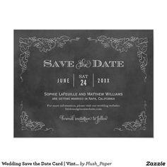 Wedding Save the Date Card   Vintage Chalkboard