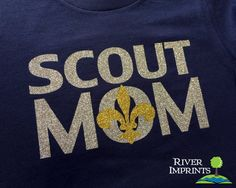 SCOUT MOM, glittery sparkle tee shirt #riverimprints #boyscouts #BSA