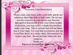 Accessory care instructions