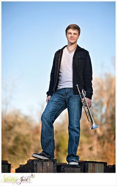 senior Portrait with Trumpets | Senior Spotlight {Tomball Senior Photographer}