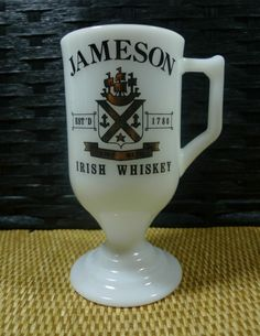 JAMESON IRISH WHISKEY MUG Black and Gold logo White Milk Glass Pedestal A GREAT addition to your home bar!