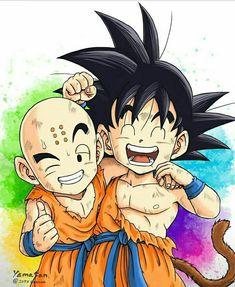 Dragon Ball Kids Goku and Kids Krillin Best friend Dragon Ball Z, Anime Echii, Kawaii Anime, Anime Naruto, Dbz, Krillin And 18, Kid Goku, Drawing Sketches, Drawings