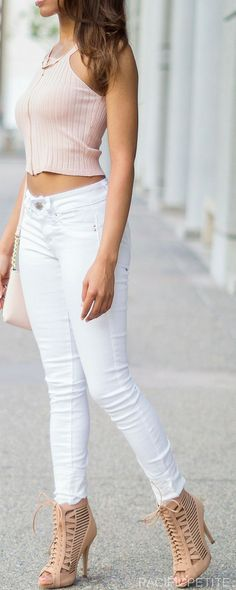White jean pants and pastel pink crop top with kate spade tote purse. perfect outfit for summer and spring with bright colors.  Casual, classy outfit