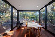 Dining room with glass walls