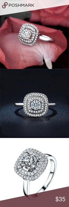 NEW STUNNING RING New silver plated ring. Center stone is a round cubic zirconia surrounded be smaller cubic zirconia. This ring is absolutely stunning. Stamped S925. Size 7 or 8 4 Bidden Boutique Jewelry Rings