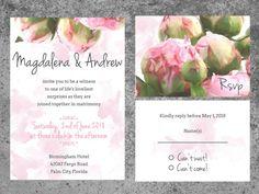 Watercolor Peony Wedding Invitation Printable by ASplashOfHearts