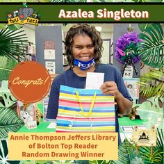 #SUMMERREADING PROGRAM HIGHLIGHT: Congratulations to Azalea Singleton, the Top Reader at the Annie Thompson Jeffers Library of Bolton! Azalea won Malco passes, new books and a Google prize pack, and is a random drawing winner of Funtime Skateland passes. Enjoy! 🥳 See who else has won at jhlibrary.org/srp21winners. #SummerReadingProgram #SRP #SRP2021 #TailsAndTales Summer Reading Program, New Books, Annie, Highlight, Congratulations, Drawing, Random, Google, Top