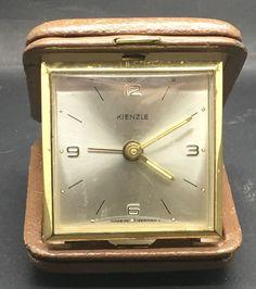 Kienzle Travel Alarm Clock Folding  Leather Case Made in Germany Wind Up Vtg
