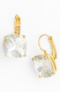 Clear crystal/silver: kate spade new york boxed drop earrings available at Girls Accessories, Wedding Accessories, Jewelry Accessories, Fashion Accessories, Fashion Jewelry, I Love Jewelry, Jewelry Box, Jewelry Design, Kate Spade Earrings