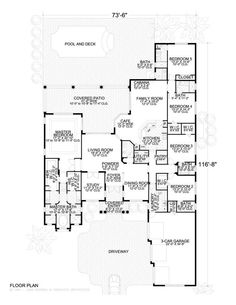 First Floor Plan of Mediterranean House Plan I love one story homes with enough bedrooms for my whole family! Instead of 2 showers and toilets in the master, I would add another small laundry room. Custom Home Plans, Custom Home Designs, Custom Homes, Country House Plans, Dream House Plans, House Floor Plans, Single Story Homes, One Story Homes, Small Mediterranean Homes