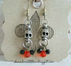 Halloween Vintage Skull Day of the Dead Dia de los Muertos Earrings by LoveYouMoreDesigns on Etsy