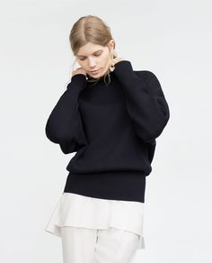 Image 2 of BRIOCHE STITCH SWEATER WITH WIDE SLEEVES from Zara