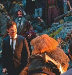 Benedict Cumberbatch on set of The Hobbit.|| Smaug looks really good in a suit