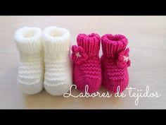Patucos o botitas para bebé en dos agujas. Paso a paso para principiantes Crochet Baby Sweaters, Baby Shoes, Slippers, Make It Yourself, Youtube, Knitting, Gloves, Kids, Crochet Baby Sandals