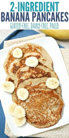 With 2 eggs and 1 banana, these quick-and-easy pancakes are naturally gluten-free, dairy-free, and Paleo-friendly. The bananas add natural sweetness while the eggs give you a nice amount of protein that will keep your family satisfied longer than typ Banana Egg Pancakes, Banana And Egg, Pancakes Easy, Paleo Pancakes, Low Calorie Pancakes, Healthy Banana Pancakes, 3 Ingredient Pancakes Banana, Pancakes From Bananas, Flourless Banana Pancakes