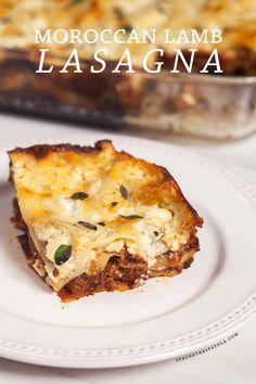 A feta bechamel, ground lamb, as el hangout, and dried apricots make this lasagna recipe extra special!   spachethespatula.com