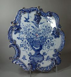 Dutch Delft blue and white plaque, century, of rococo form decorated with a vase of flowers and two birds, height: Blue And White China, Blue China, Love Blue, Delft, Blue Dishes, White Dishes, Himmelblau, Duck Egg Blue, Blue Plates