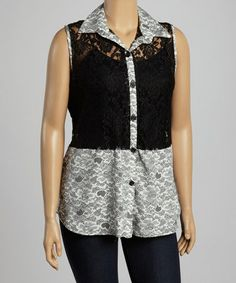 Another great find on #zulily! Black & White Sheer Lace Button-Up - Plus #zulilyfinds