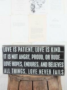 Wedding Gifts. Love is patient. Love is kind... Love never fails.