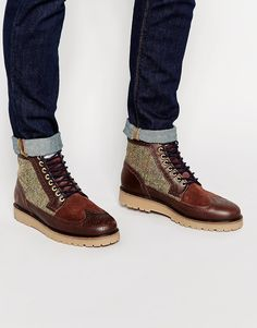 Fred Perry Northgate Leather and Harris Tweed Brogue Boots