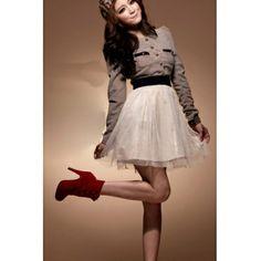 Long Sleeves Cotton Ball Gown Mini Dress