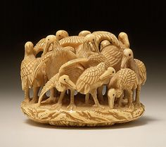 Kagetoshi (Japan)   Crane Group, early to mid-19th century  Netsuke, Ivory with sumi,