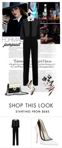 """""""This night is wild, so calm and dull"""" by elberethgilthoniel ❤ liked on Polyvore featuring Vanity Fair, Suit Yourself, Valentino, Chanel, Gianvito Rossi, blackandwhite, jumpsuit and formaljumpsuit"""