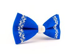 father gift Blue bow tie embroidery handmade wedding cotton  bow tie boy birthday little gentleman bow ties Boyfriend's gift (18.50 USD) by CutieTieShop