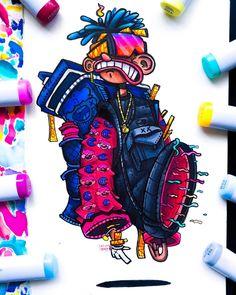Cute Doodle Art, Cool Doodles, Doodle Art Designs, Doodle Art Drawing, Dark Art Drawings, Cute Art, Graffiti Doodles, Graffiti Cartoons, Graffiti Drawing