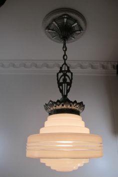 Antique Art Deco Schoolhouse Chandelier Ceiling Fixture Pendant Shade Glass | eBay