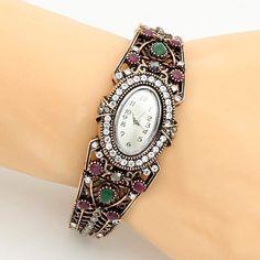 Studded, Ethnic Rhinestone Bangle Watch