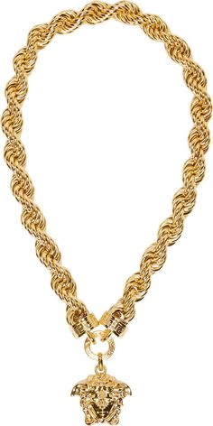 Gold Chain Men Pendants Versace Gold Twist Chain Medusa Necklace Large twisted curb chain necklace in gold-tone metal. Made in Italy. Versace Gold, Versace Chain, Pendant Jewelry, Gold Jewelry, Jewelery, Chain Jewelry, Unique Jewelry, Gold Chain Design, Mens Chain Necklace