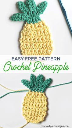 Make this Easy & Free Crochet Pineapple today with this FREE crochet pattern by Rescued Paw Designs - could be a scrubbie Fruits En Crochet, Marque-pages Au Crochet, Crochet Motifs, Crochet Crafts, Free Crochet, Crochet Projects, Crochet Borders, Cotton Crochet, Crochet Stitches