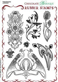 Fleurs Nouveau Unmounted Rubber stamp sheet - A5 - Chocolate Baroque