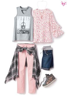 Pink jeans with plaid and floral tops this would be a perfect kids outfit for school! I love this girls outfit would be cute on a younger tween too. Seriously cute fashion for spring summer or fall! Cute Girl Outfits, Kids Outfits Girls, Tween Girls, Fall Outfits, Fashion Outfits, Tween Fashion, Cute Fashion, Girl Fashion, Boy Clothing