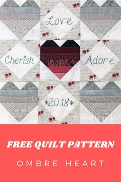 Get your FREE Ombre Heart Quilt Tutorial Here. Quilt Patterns Free, Heart Patterns, Flying Geese, Quilt Tutorials, St Patricks Day, Quilt Blocks, Quilting, Bloom, Valentines