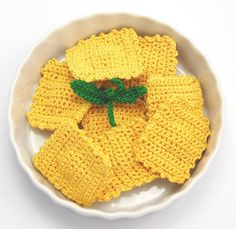 Ravioli crocheted food pasta plus basil by NadelwerkKnits on Etsy