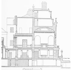 Figure 76: White's section A-A St. James's Street, East Side | British History Online   (999×981)