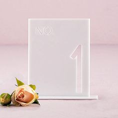 White Acrylic Table Number In Block Style (Numbers 1-24 Available)