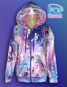 Jacket Inspired by the cartoon Steven Universe. Includes a large amount of characters: gems, homeworld gems and fusions.  Gems: Steven, Rose Quartz,