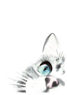 A Cats Focus Original Watercolor Painting Art Print, Cat Art, Home Decor, Wall Art, Nursery Wall Art, Animal Art, Cat lover Gift