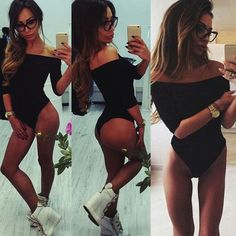 Women Fashion Long Sleeve Tops Sexy Off Shoulder Jumpsuit Bodysuit Clubwear  $3.9