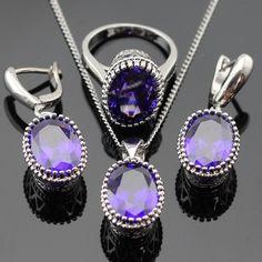 Oval Creado Amatista Púrpura Sistemas de La Joyería Para Las Mujeres de Color Plata Collar Colgante Anillos de Navidad Caja de Regalo Libre