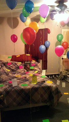 My fiance's surprise birthday present!! This actually made him emotional and he absolutely felt amazing from it. He said he has never felt more important than at that moment. Room covered in balloons with pictures of us attached, as well as notecards expressing all the reasons (roughly 75) why I love him.