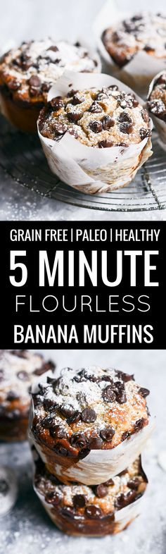 The Most Delicious Paleo Banana Muffins Made In 5 Minutes Incredibly Soft And Fl. The Most Delicious Paleo Banana Muffins Made In 5 Minutes Incredibly Soft And Fluffy Muffins That A Paleo Snack, Paleo Baking, Paleo Sweets, Gluten Free Baking, Paleo Dessert, Paleo Diet, Paleo Food, Dinner Dessert, Dessert Recipes
